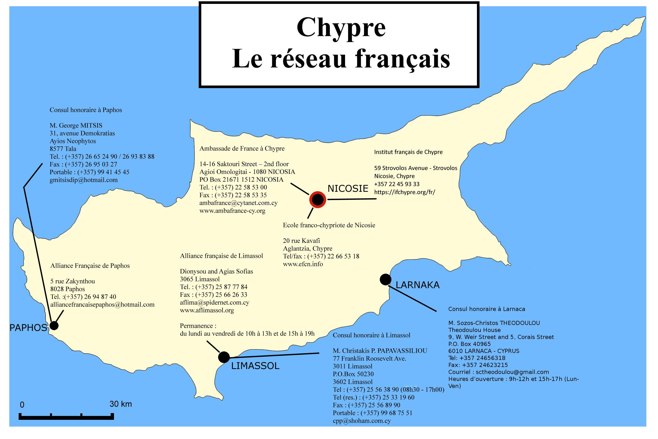 Carte Limassol Chypre.Carte Du Reseau Francais A Chypre La France A Chypre